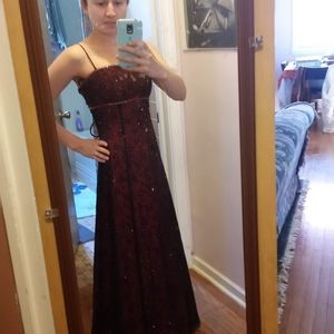 Burgundy evening gown